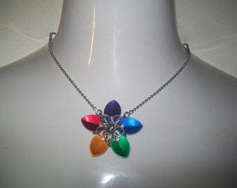 Flower Chainmaille Necklace Choose a color