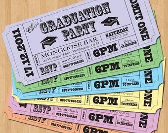 Graduation Party Invitations - Vintage Ticket Style DIY Set (printable)