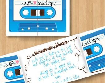 Printable Mix Tape Retro Wedding Invitation DIY Set