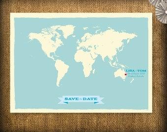 Save the Date World Map Poster DIY Set (printable)