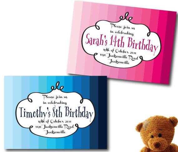 Colorful Birthday Party Invitation DIY Set (printable)