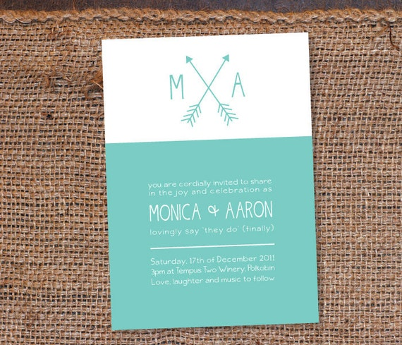 Modern Custom Wedding Invitation DIY Set (printable) - Love and Arrows