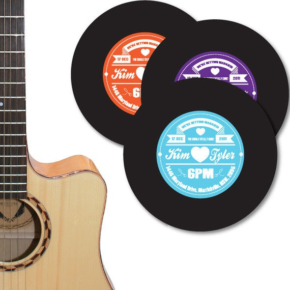 Items similar to vinyl record label wedding invitation diy for Etsy vinyl wedding invitations