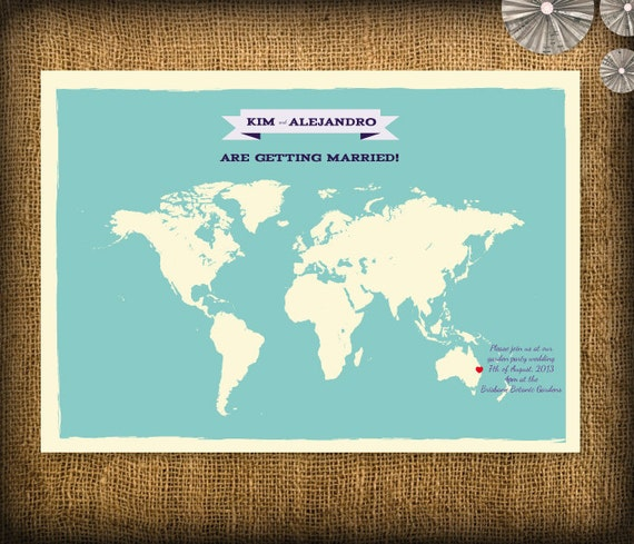 Items Similar To World Map Poster Wedding Invitation And