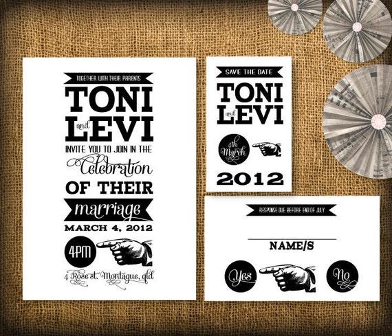 Retro Wedding Invitation, Save the Date and RSVP Suite DIY Design (printable)