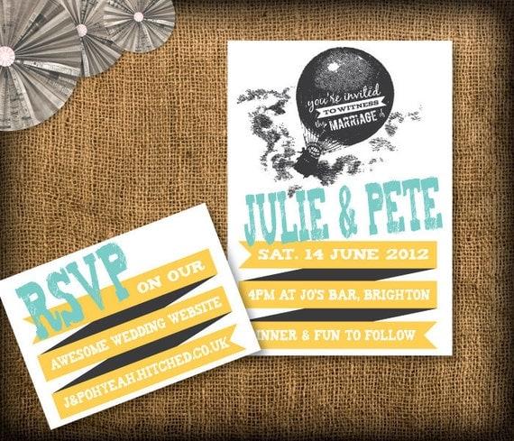 Wedding Invitation DIY Set (printable) - Invitation & RSVP - Grunge/Rock/Indie