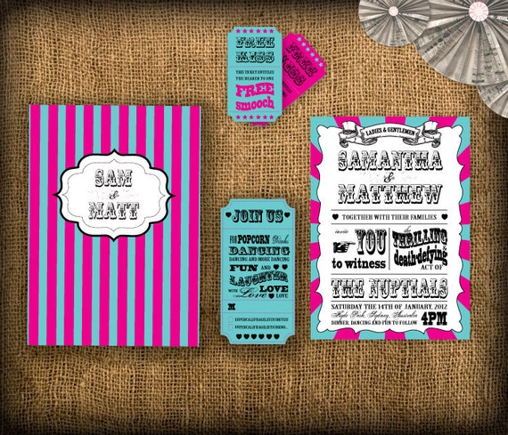 Circus/Carnival Wedding Invitation DIY Set (printable)