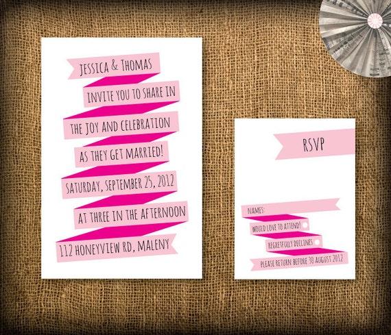 Retro Wedding Invitation and RSVP DIY Design (printable)