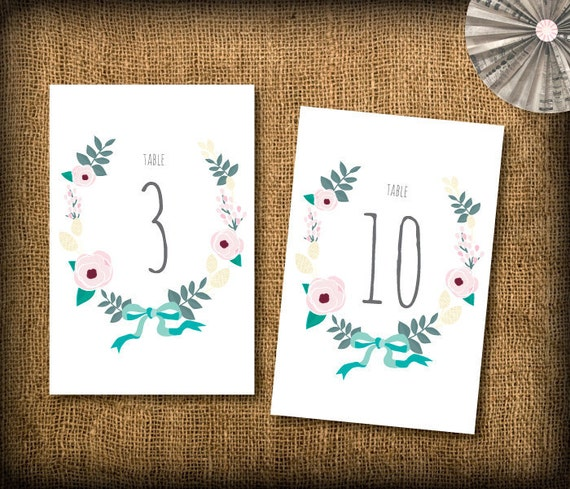 Wedding Table Numbers DIY Design (printable) - Garden and Country Whimsy - Numbers from 1 - 10