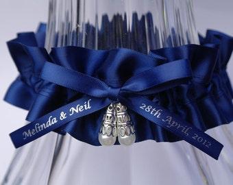 Personalised Wedding Garter Navy Satin