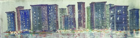 original cityscape watercolor painting