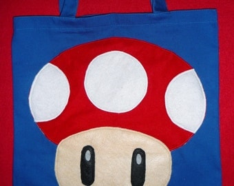 "by Mario Bros. characters  """" RED MUSHROOM """"  canvas  tote bag"