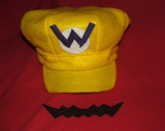 "By Mario Bros  "" WARIO ""   hat and mustache"