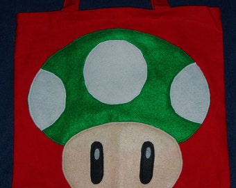 "by Mario Bros. characters  """" 1UP  green  MUSHROOM """"  canvas  tote or trick or treat candy BAG"