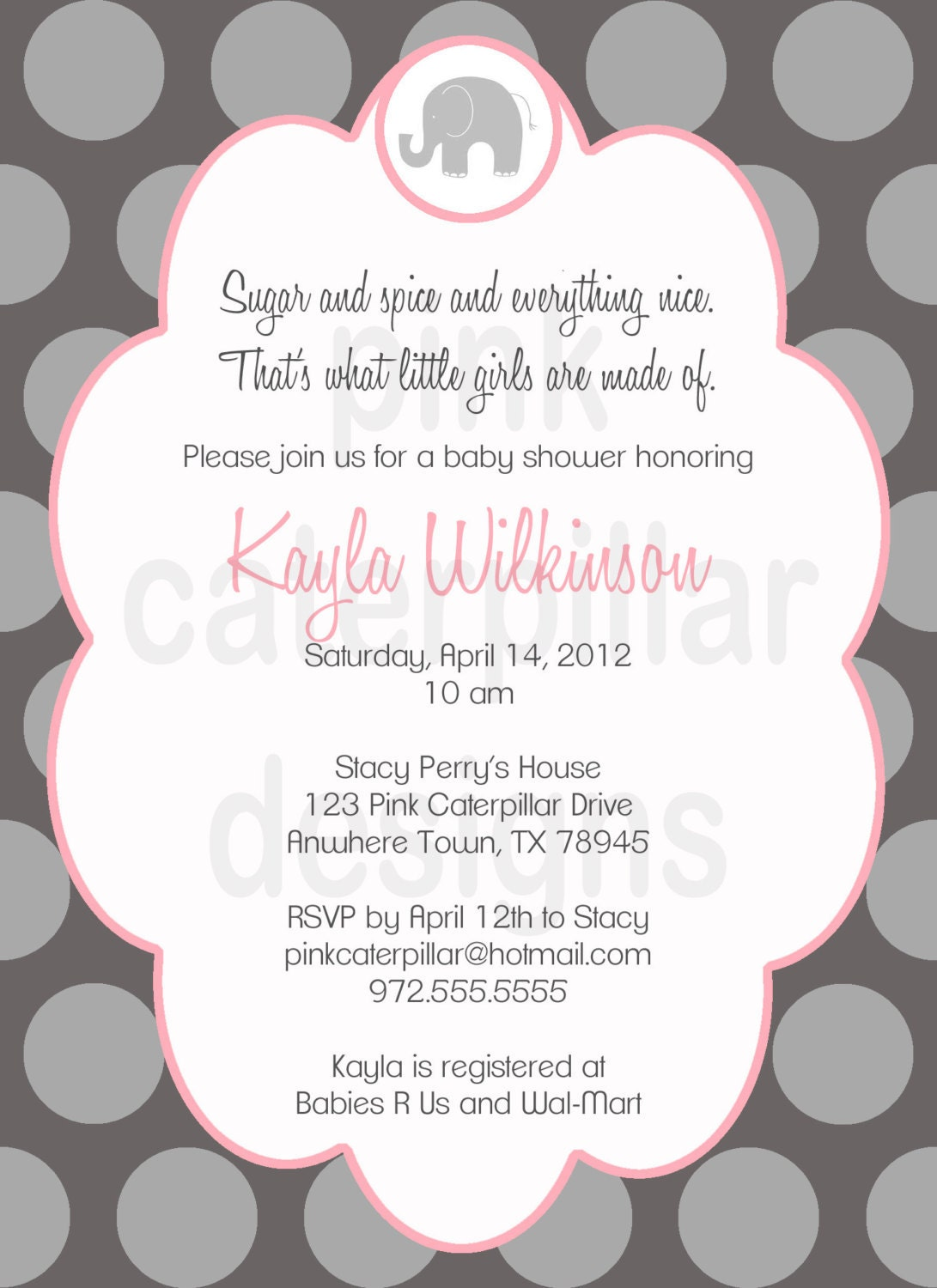 items similar to pink and grey elephant baby shower invitation diy