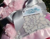 Mar Bella Minky Baby Blanket- Sofia Pink w/ Pink Rose Minky and Satin Trim