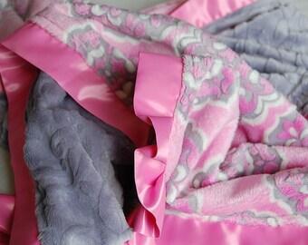 Mar Bella Barcelona Sofia Pink Minky Baby Blanket w/ Pink Satin Trim