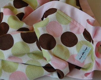 Pink, Sage and Brown Polka Dot Minky Baby Blanket with Satin Trim- Ready to Ship