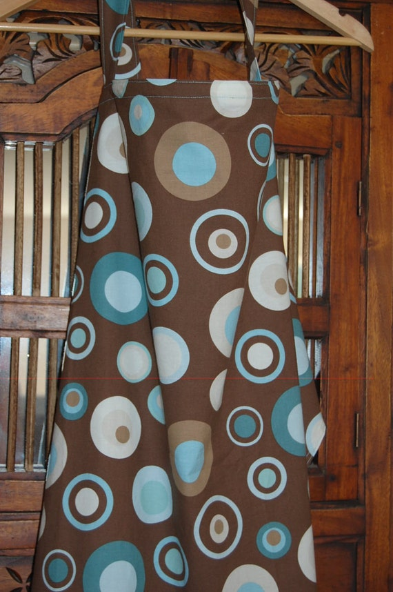 Nursing Cover- Brown with blue circles