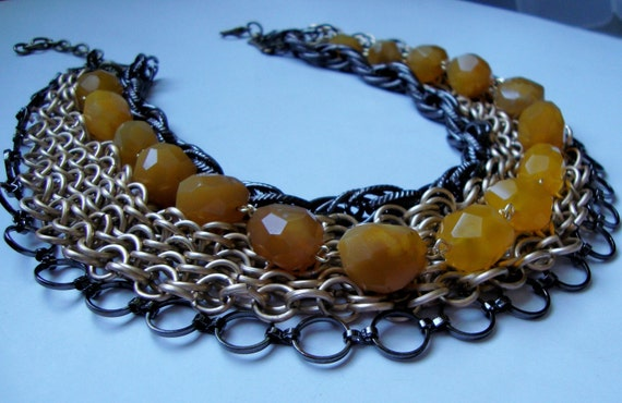 Bennett- Fauceted Yellow Agate Nuggets with Matte Gold Chainmaille