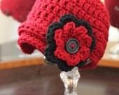 Newsgirl Crochet Hat w/ Removeable Flower Infant/Toddler