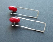 Modern Coral Earrings Geometric Coral and Silver