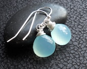 Chalcedony Earrings - Sterling Silver Wire Wrapped Seafoam Chalcedony
