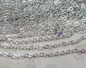 16 ft of  White gold plated brass  round cable chain  2mm