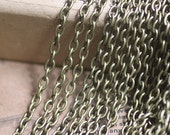 32  ft of Antique-Bronze plated Iron Cross  cable  Chain 3x4mm---TL4653