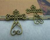 20pcs 27x38mm Antique Bronze Vintage  Cross Metal Charms Pendants ta