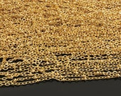16 ft (5m) 2mm -handmade chain/ Necklace Chains/ Jewelry Links of 16K  Gold Plated Brass Chain