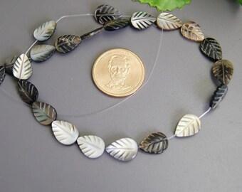 10 pcs  black MOP Sea Shell  Leaf Beads....12x16mm