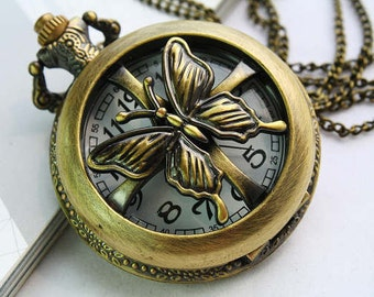 SALL 1pcs Antique Bronze   Watch Charms Pendant with chain Necklace pendants, Jewelry  Fittings