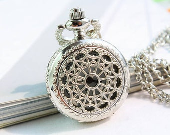 1pcs Cobweb Watch Pendant Silver plated   Watch Charms Pendant with chain ty142924