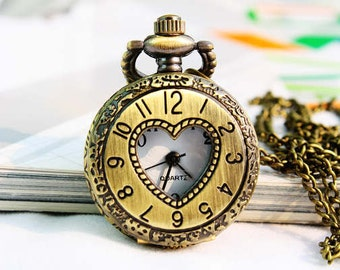 1pcs Ancient bronze Heart-shaped  Watch Charms Pendant with chain