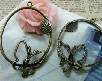 10pcs 35x53mm Antique Bronze Filigree Butterfly Flower Connector Link Charm Pendant
