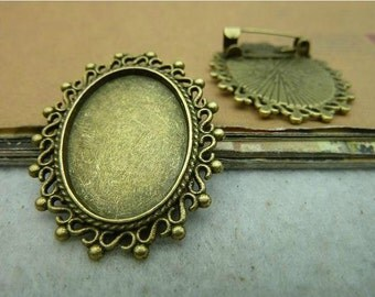 5 pcs 18x25mm  brooch cameo setting -antique bronze ta C2933