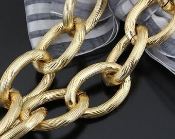 3.2ft (1m) 27x19mm -handmade chain/ Necklace Chains/ Jewelry Links of Gold Plated aluminum Chain