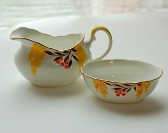 Vintage Bone China Royal Grafton Cream Sugar Set