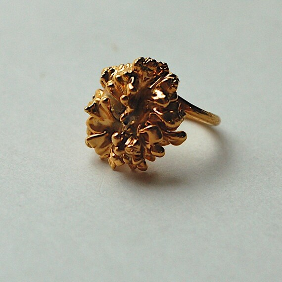Vintage 24K Gold Covered Leaves Ring Nature's Heritage