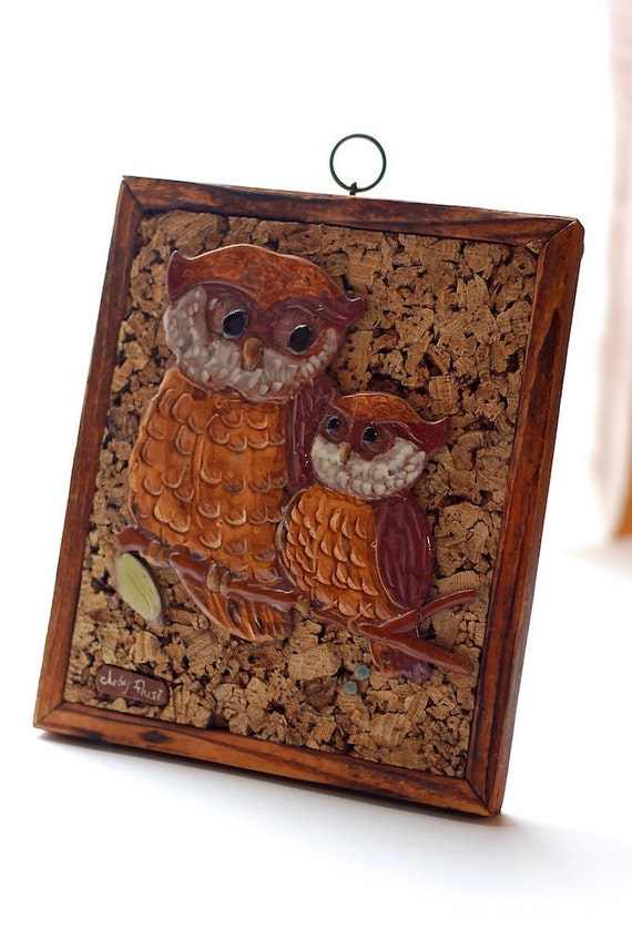 Vintage Owl Wall Hanging Ceramic Wood and Cork 70s