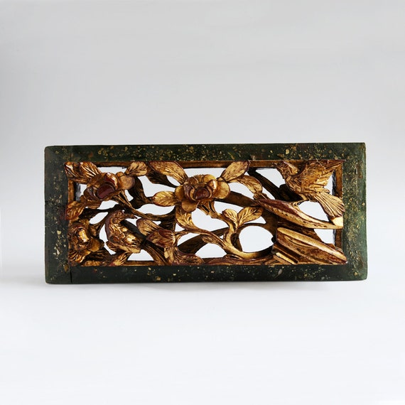 Reserved for July - Antique Carved Wood Panel