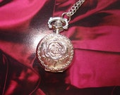 20% HOLIDAY SALE Necklace Pendant Silver Rose Pocket Watch quartz Gift Chain