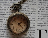 Necklace Pendant New Bronze Pocket Watch quartz Gift Chain E132