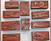 Letterpress Printers Block : Beautiful Copper 4 Prop Sea Plane