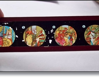 Magic Lantern Slides :Victorian Glass Slides,Beautiful Colour - Sleeping Beauty Illustrations.