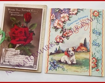 Vintage Greetings Cards- Mixed Set of 7 Original Vintage Greetings Cards  Set 2