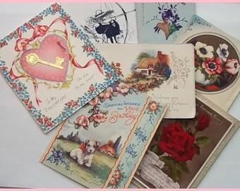 Vintage Greetings Cards- Mixed Set of 7 Original Vintage Greetings Cards  Set 2