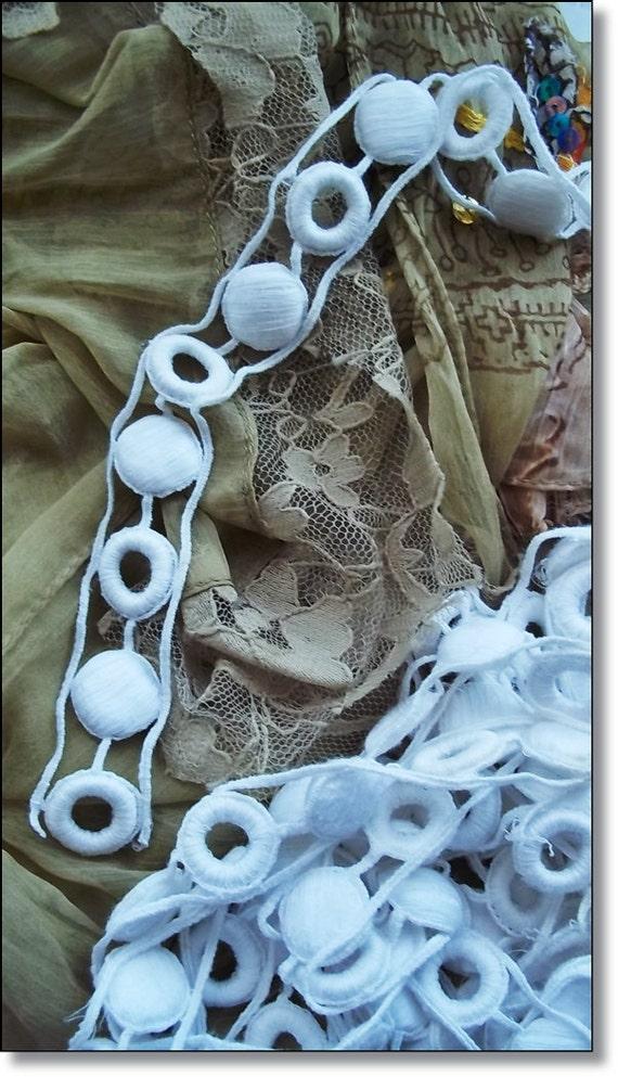 Vintage Trim, Vintage French Fabric : Extraordinary French Cotton Trim Per Yard