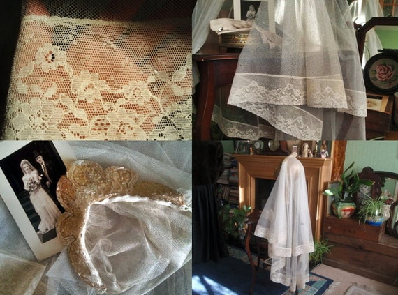 Antique Wedding Veil : Beautiful Original  1920s Tulle Wedding Veil